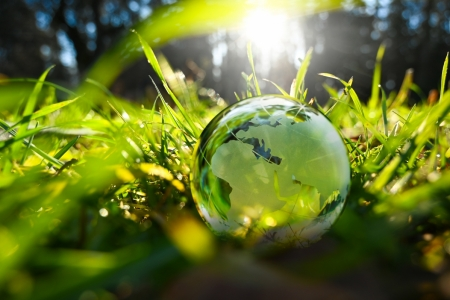Glass globe for J.P. Morgan green investments